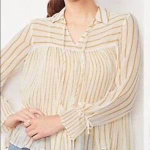 LC LAUREN CONRAD Pleated Tie Front Striped Blouse